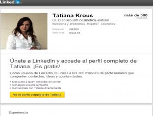 LinkedIn de Tatiana Krous y de krous® cosmética+natural